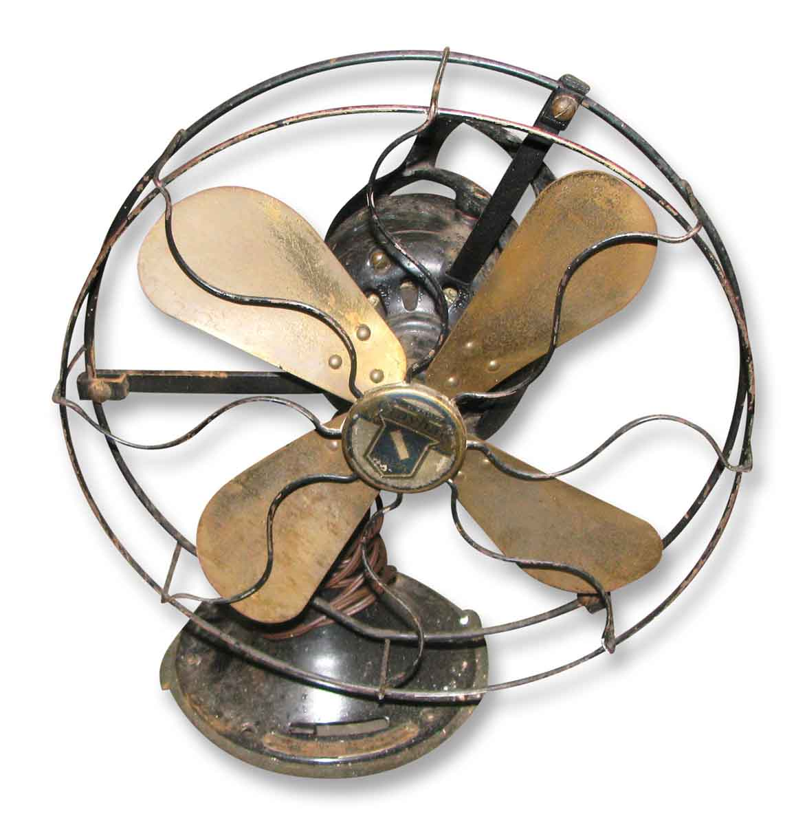 Antique Oscillating Fan With Brass Blades Olde Good Things