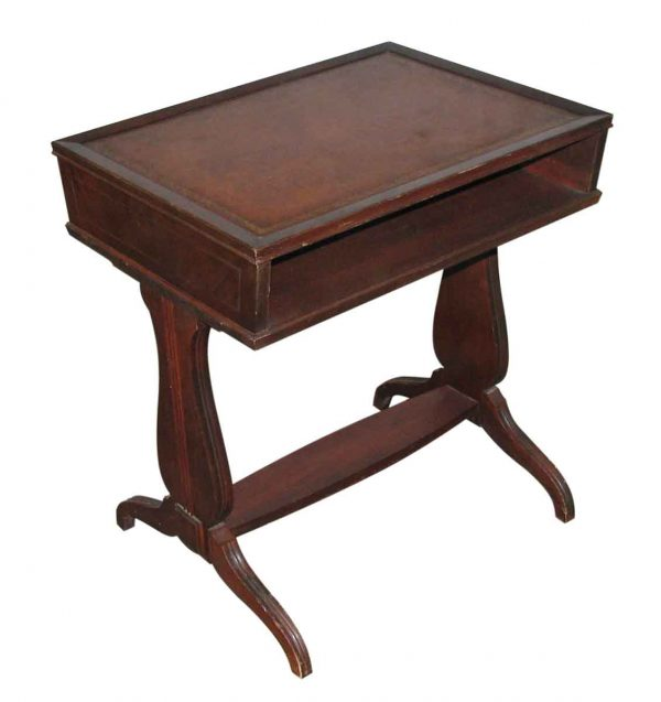 Leather Top Magazine Side Table - Living Room