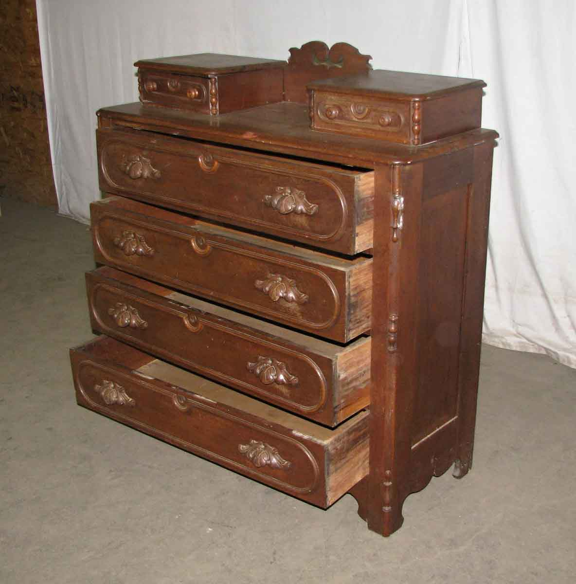 19th century walnut dresser with carved wood handles olde good things Handles for bedroom furniture