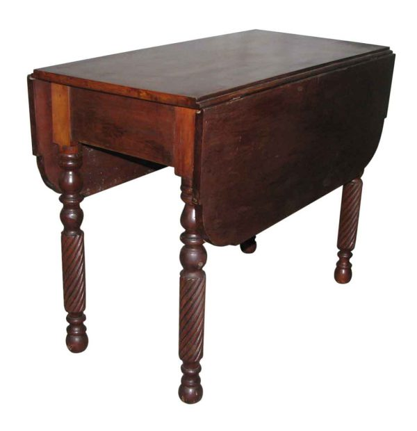 Antique Drop Leaf Table with Serpentine Legs - Kitchen & Dining