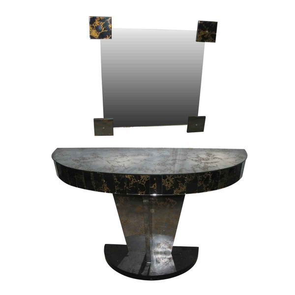 Mid Century Modern Mirrored Console Table & Mirror - Entry Way