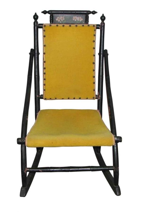 Victorian Rocker with Studded Yellow Upholstery - Seating