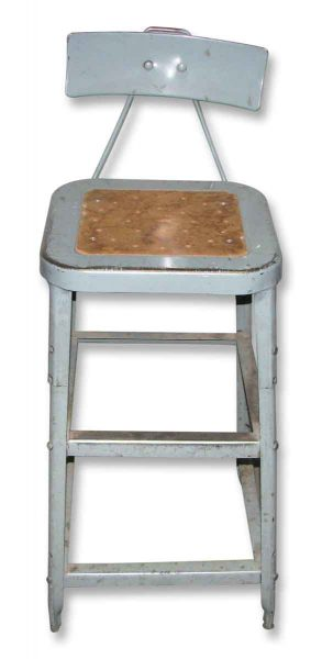 Industrial Metal Factory Stool with Back - Industrial