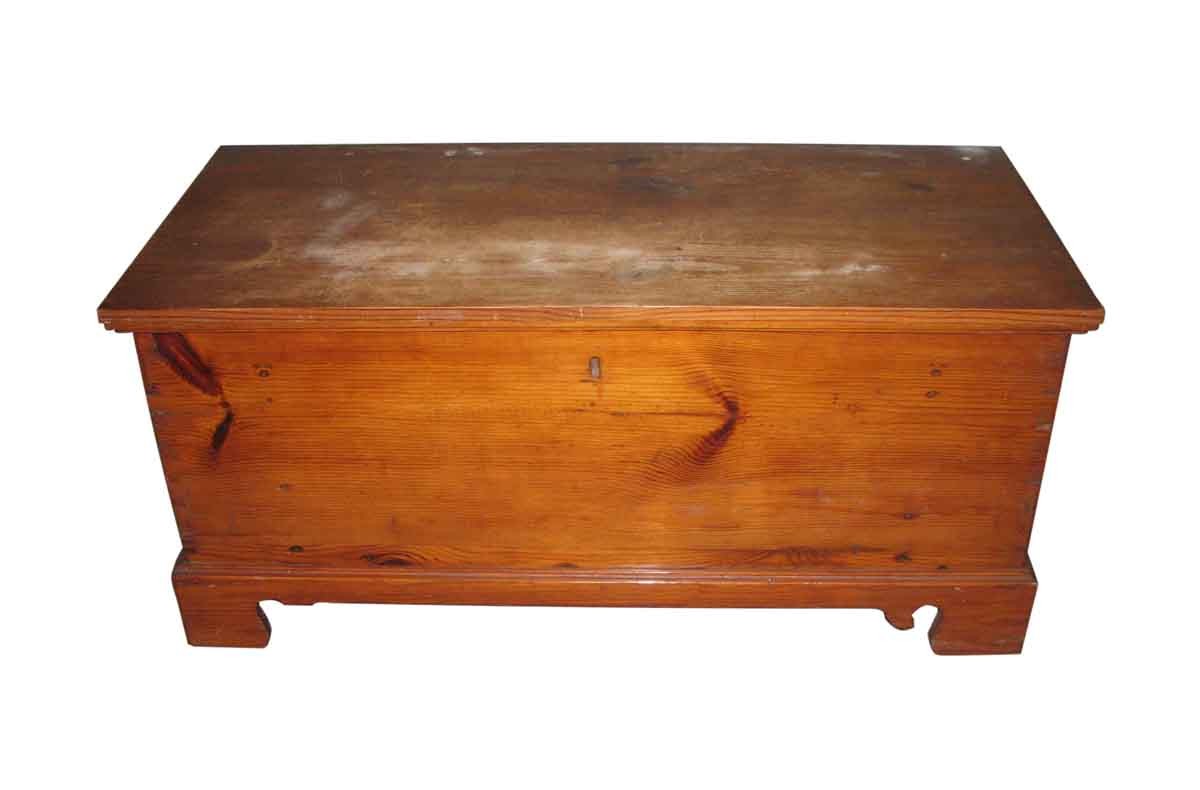 Primitive Antique Pine Chest With Iron Straps   Chests