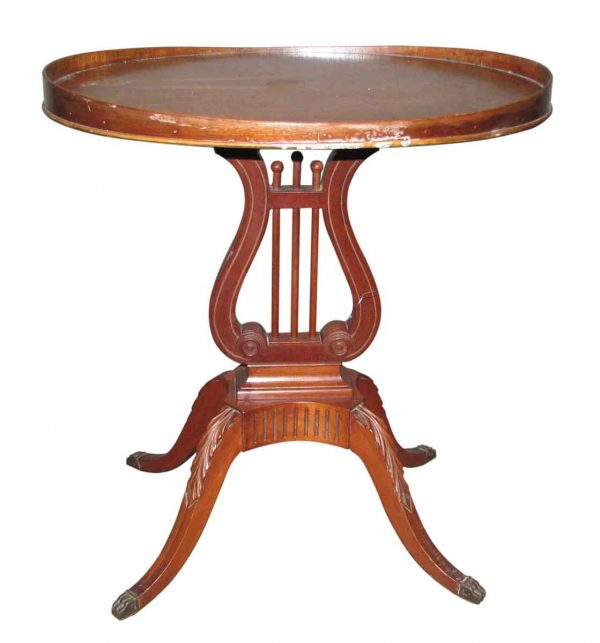 1940s Mahogany Table with Harp Motif - Living Room