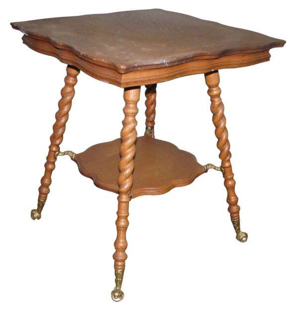 19th Century Barley Twist Oak Side Table - Living Room