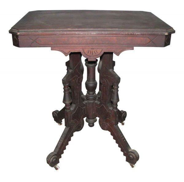 Walnut Cafe or Tea Table with Carved Eastlake Design - Living Room