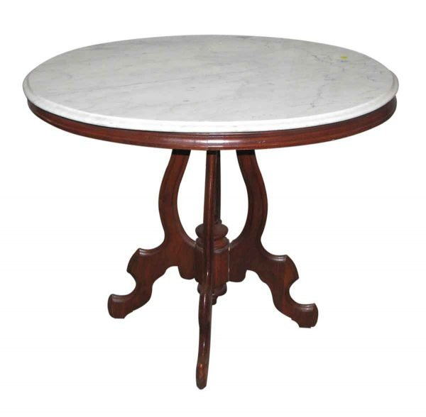 Queen Anne Marble Top Table with Carved Walnut Base - Living Room