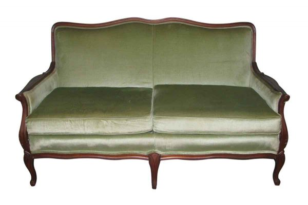 Carved Frame Love Seat with Lime Green Upholstery - Living Room