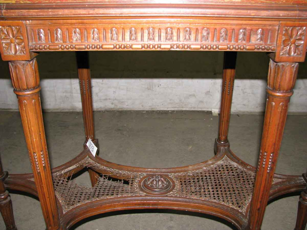 Antique carved wood table with marble top olde good things