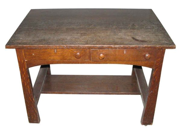 Oak Arts & Crafts Desk - Office Furniture