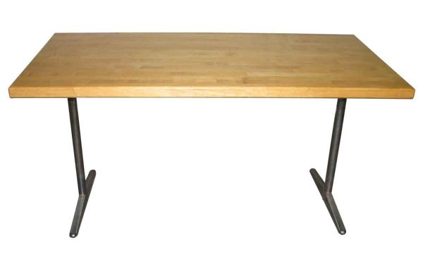 Butcher Block Table Top with Chrome Legs - Office Furniture