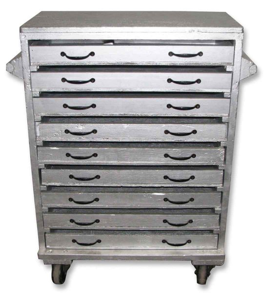 Sliver Painted Wood Chest with Nine Drawers - Carts