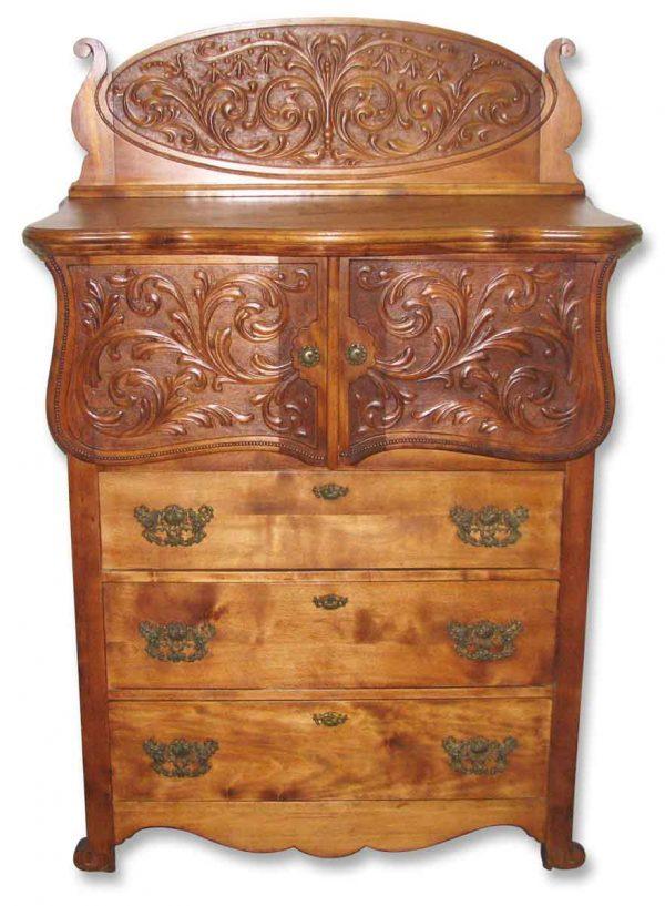 Intricately Carved Flamed Maple Dresser - Bedroom