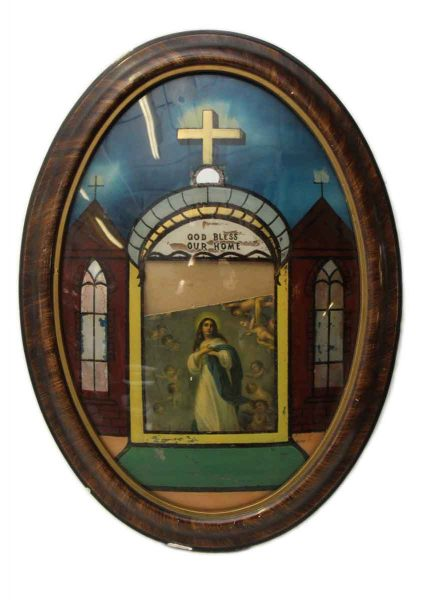 Reverse Painted Religious Picture on Curved Glass - Religious Antiques