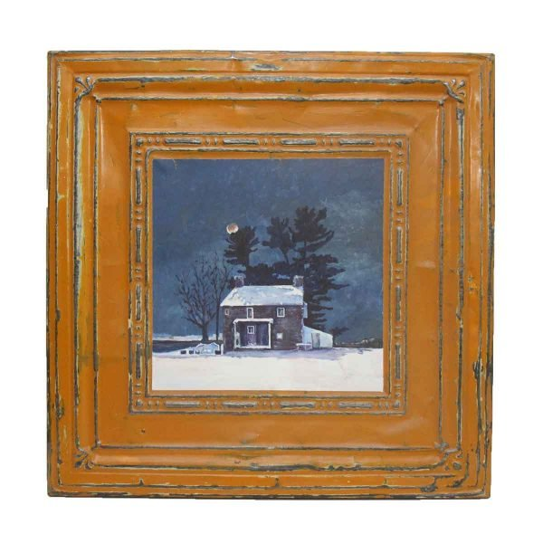 Pretty Orange Tin Panel with Hand Painted Winter Scene - Hand Painted Panels
