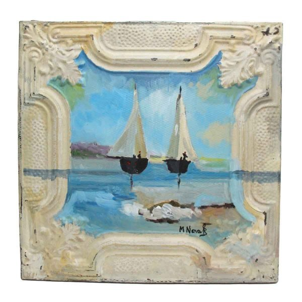 Hand Painted Tin Panel by Novak with Sailboats - Hand Painted Panels