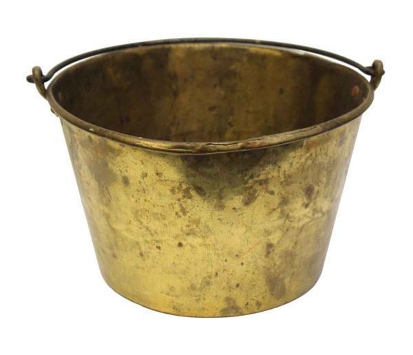 Vintage Gold Colored Metal Basket - Baskets