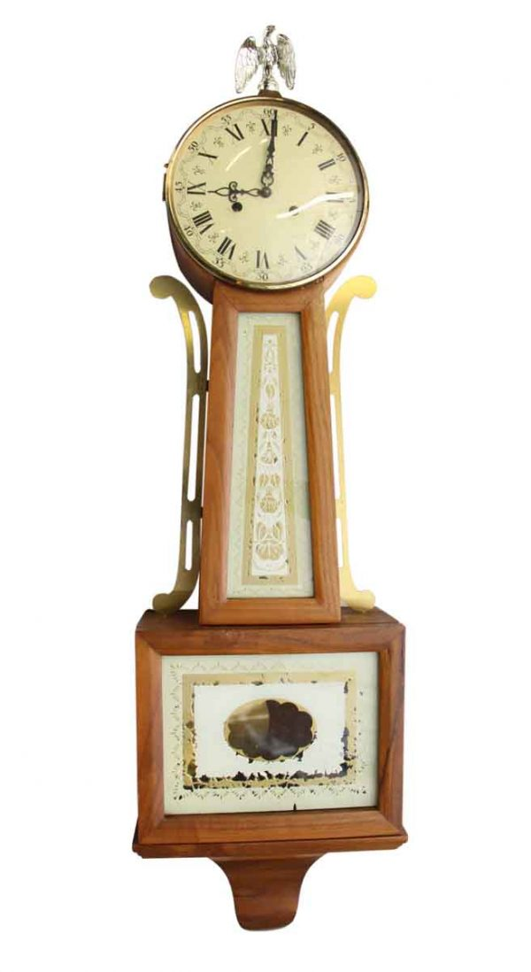Antique Wall Clock with Painted Porcelain Face - Clocks