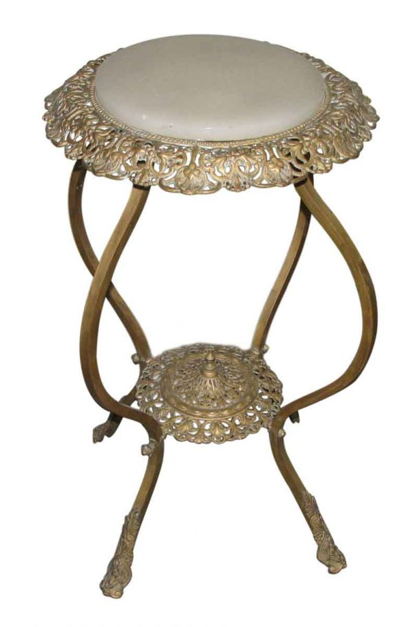 Bronze Filigree Pedestal Table with Marble Top - Pedestals