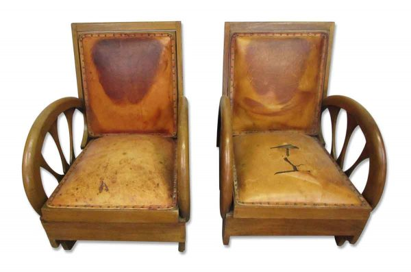 Rare Carved Wood & Leather Lounge Chairs - Living Room
