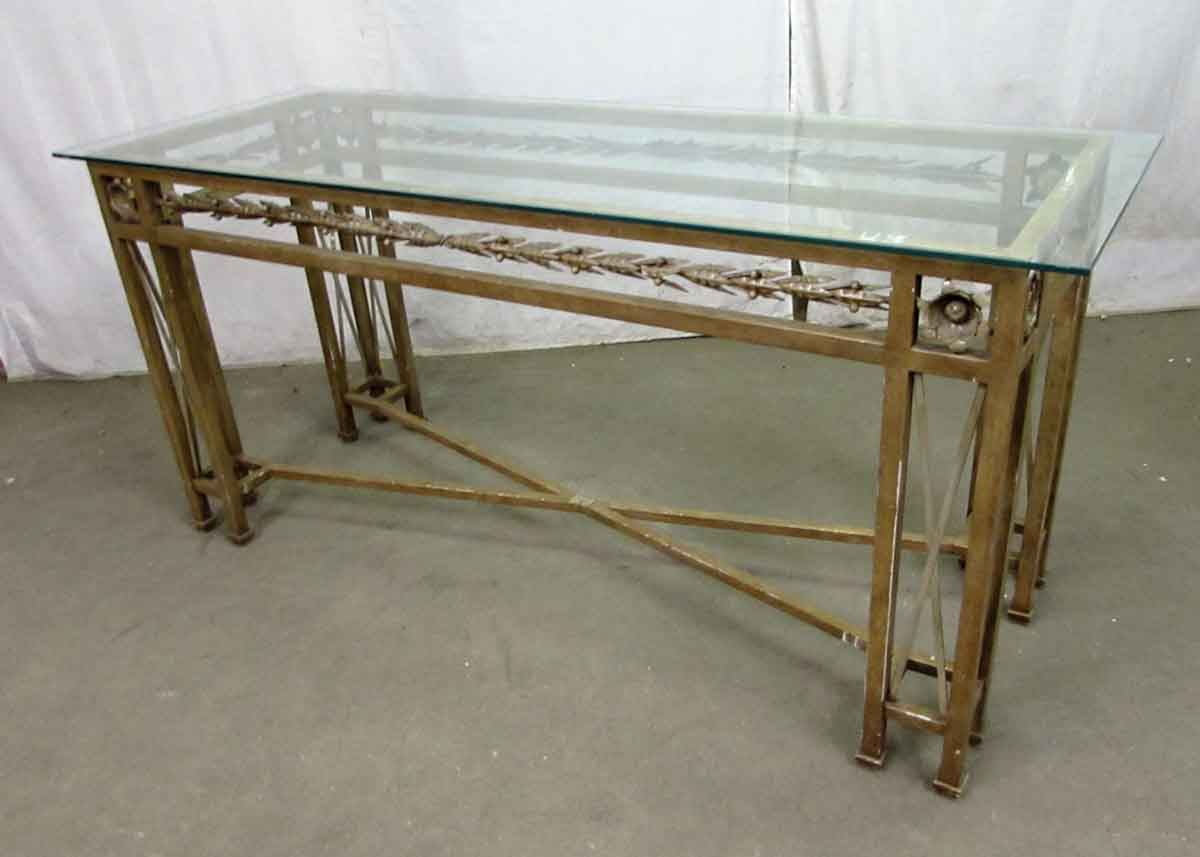 wrought iron console table with glass top  olde good things - wrought iron console table with glass top