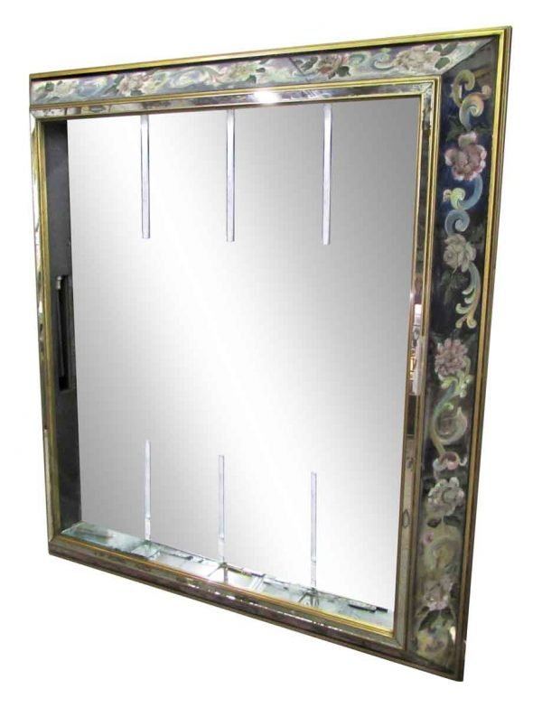 Mid Century Mirror with Floral Frame - Antique Mirrors