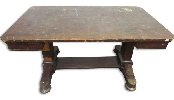 1940s Solid Walnut Desk with Trestle Base - Office Furniture
