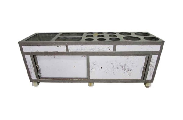 Antique Steam Table Monel with Enamel Feet - Kitchen