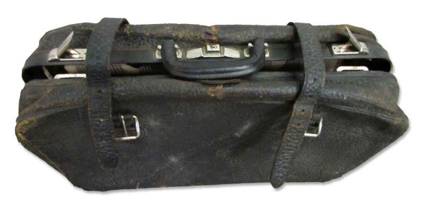 Vintage Black Leather Suitcase - Suitcases
