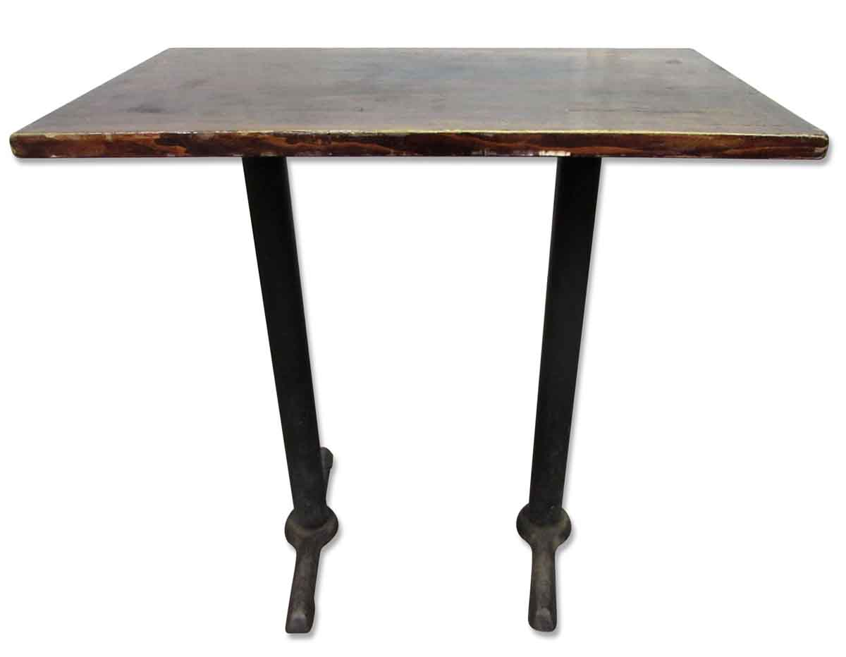 Wooden top bar height table with iron legs olde good things for Wood table iron legs