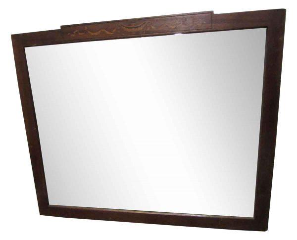 Antique Wooden Mirror with Inlaid Design - Antique Mirrors