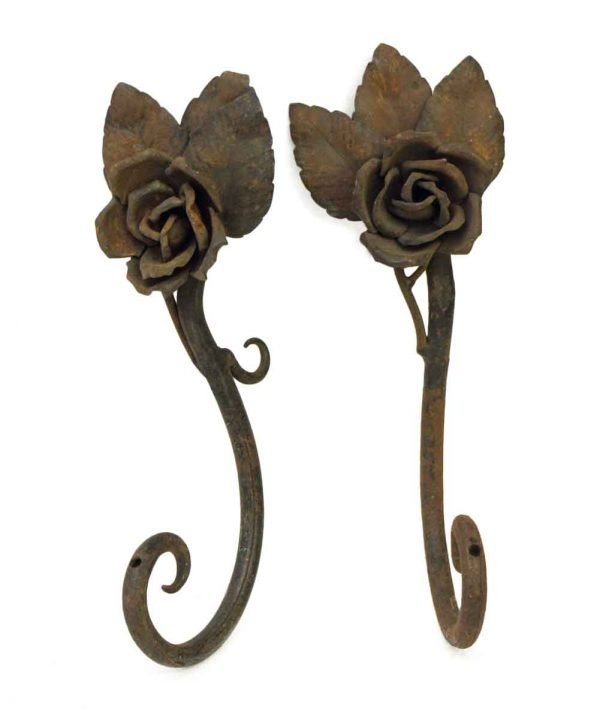 Pair of Worn Floral Curtain Tie Backs - Curtain Hardware