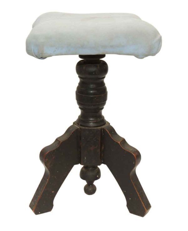 Wooden Stool with Light Blue Seat - Seating