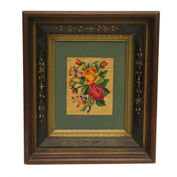 Simple Patchwork Floral Picture in Antique Frame - Other Wall Art