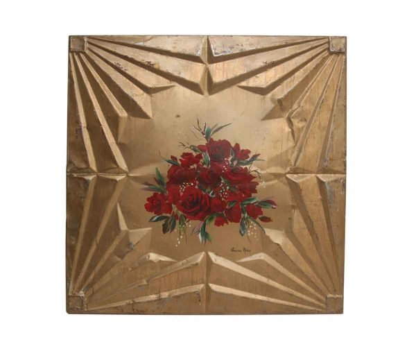 Pretty Gold Tin Panel with Red Roses - Hand Painted Panels