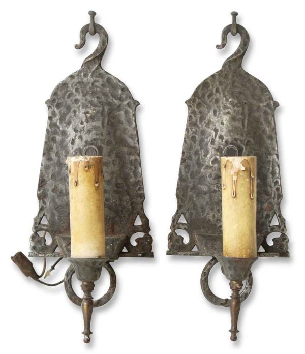 Pair of Hammered Metal Sconces - Sconces & Wall Lighting