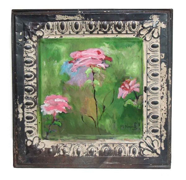 Hand Painted Floral Novak Tin Panel - Hand Painted Panels