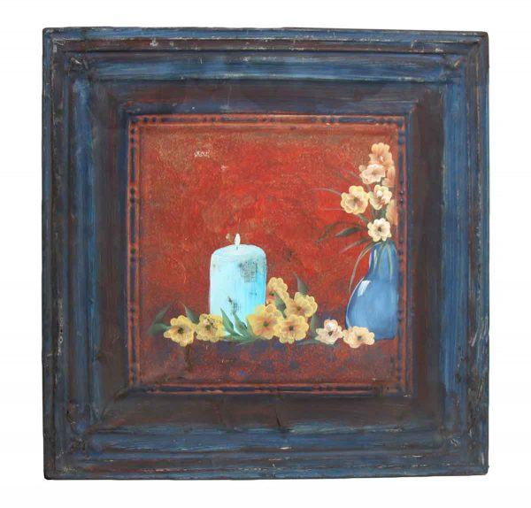 Hand Painted Still Life Blue Tin Panel - Hand Painted Panels