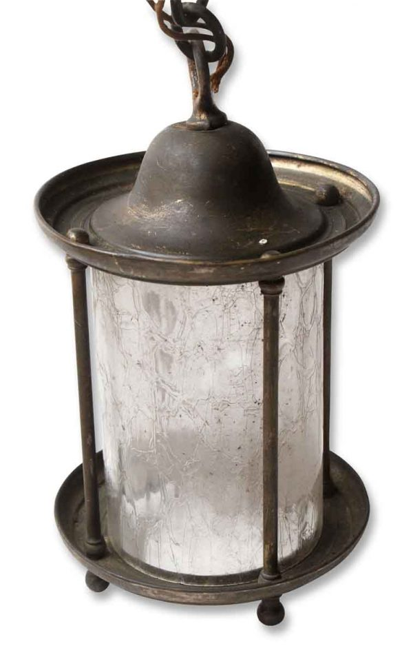 Brass Lantern with Textured Glass - Wall & Ceiling Lanterns