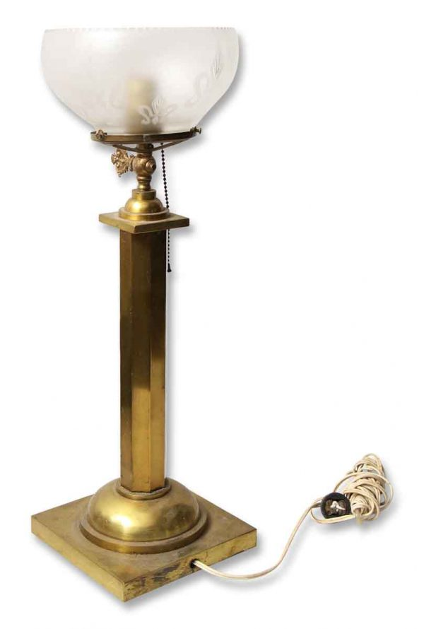 Brass Table Lamp with Round Etched Shade - Table Lamps