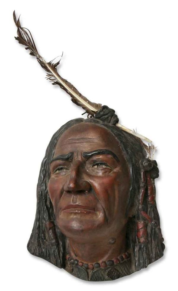 1904 Plaster Indian Head with Feather - Other Wall Art
