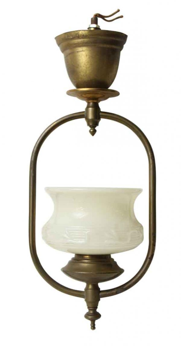 Deco Art Nouveau Pendant Light with Glass Shade - Up Lights
