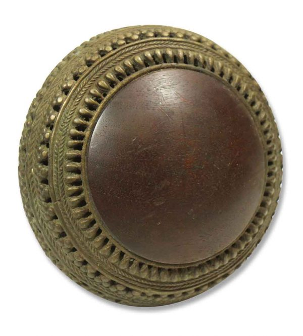 Large Wooden and Bronze Knob - Door Knobs