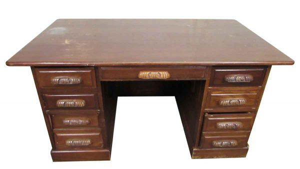 Carved Handle Wooden Desk - Office Furniture