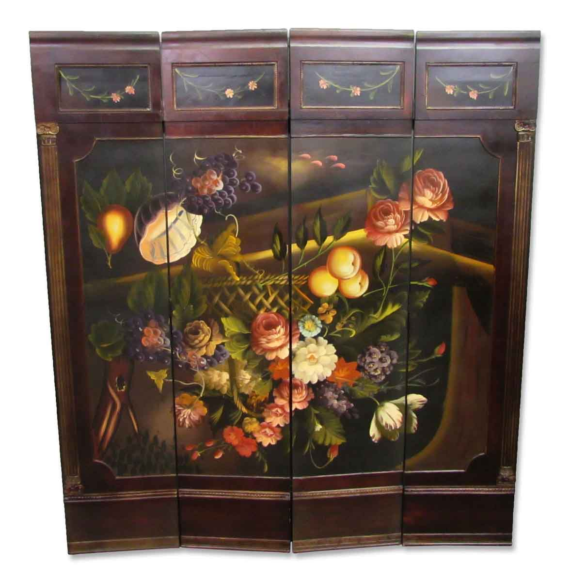 Four Panel Hand Painted Screen