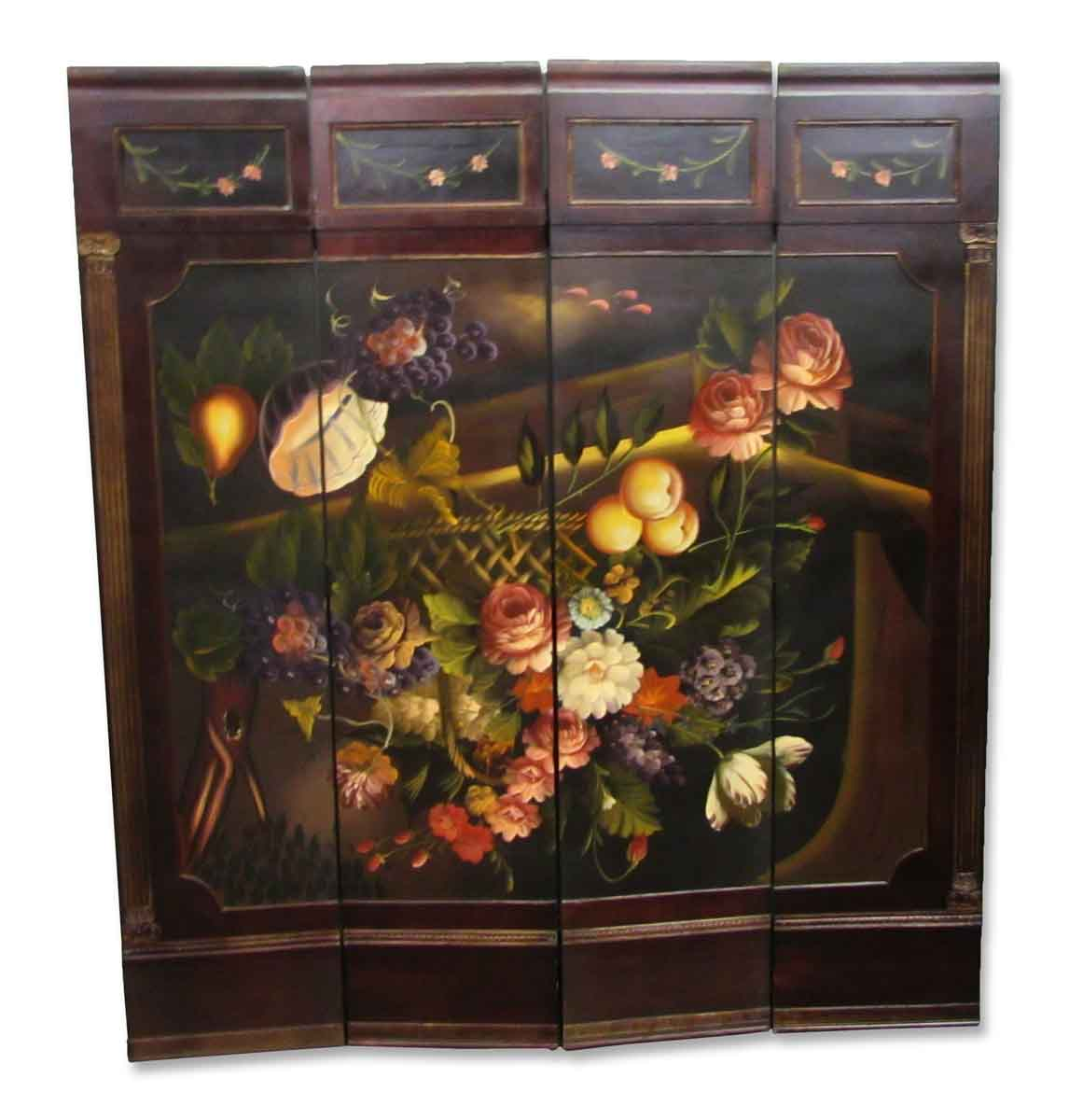 Furniture Pieces Names: Four Panel Hand Painted Screen