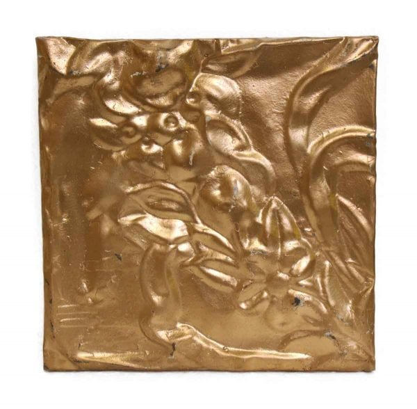 Pretty Gold Floral Tin Panel - Tin Panels