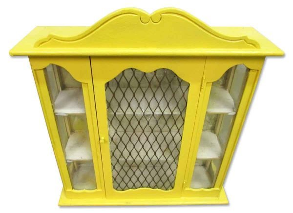 Yellow Painted Curio Cabinet - Cabinets