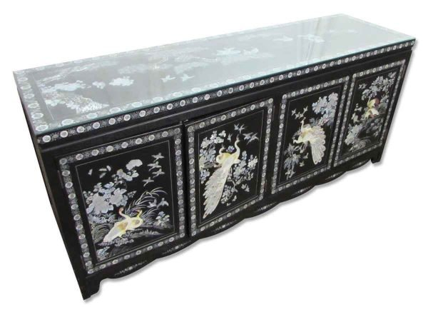 Asian Side Board with Glass Top - Kitchen & Dining